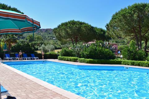 Zwembad in het groen met uitzicht