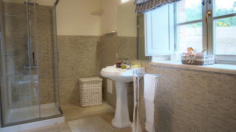 Badkamer van villa Trevinano.