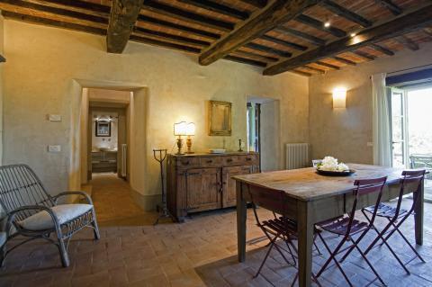 Woongedeelte van het vakantiehuis in Cortona.