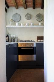 Keuken van de villa in Cortona.
