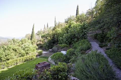 Tuin van villa Vicolo gelegen in Cortona.