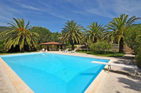 Geräumige Pool mit Terrasse und Außendusche